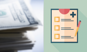 A graphic showing a stack of money on the left and a checklist on the right