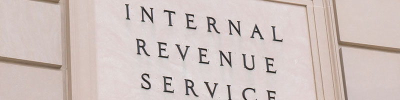 Internal Revenue Service sign at the IRS Building in Washington, DC